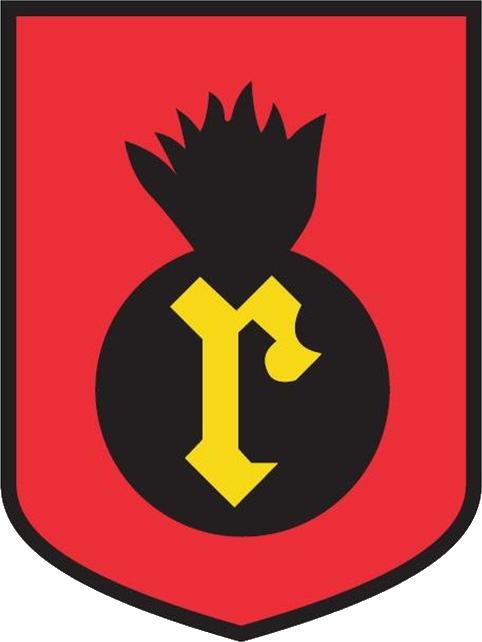 Rauman seudun tykistökillan tunnus: Punaisessa kentässä musta liekehtivä pommi, jonka keskellä kultainen r-kirjain