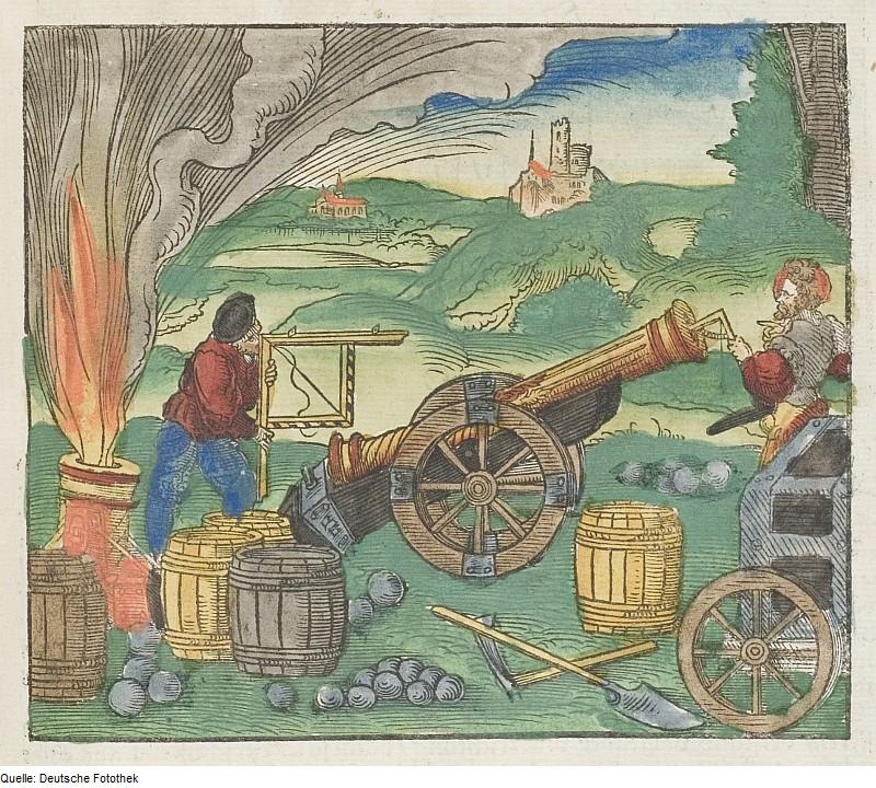 Tuliaseman ballistista valmistelua 1500-luvulla. (Walther Hermann Ryffin puupiirros)
